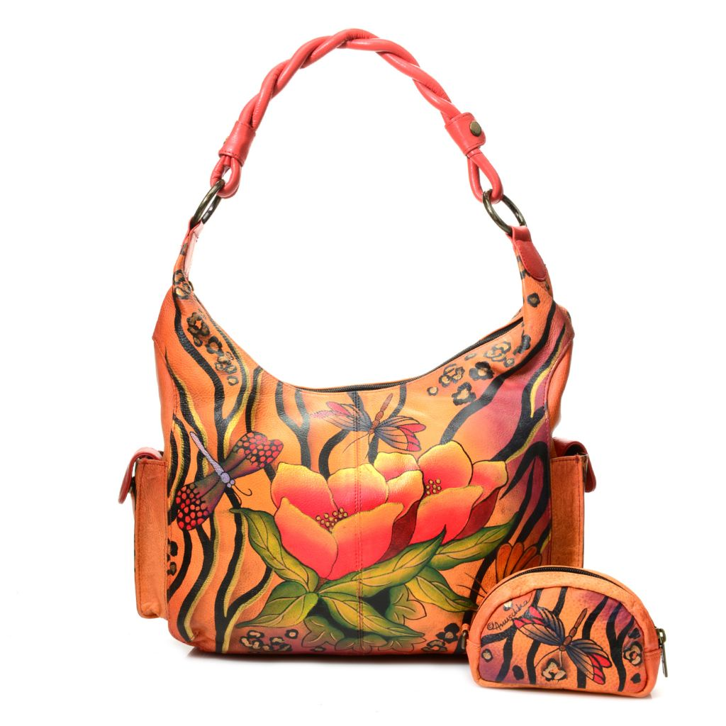 719-108 - Anuschka Hand-Painted Leather Zip Top Hobo Handbag w/ Coin Pouch