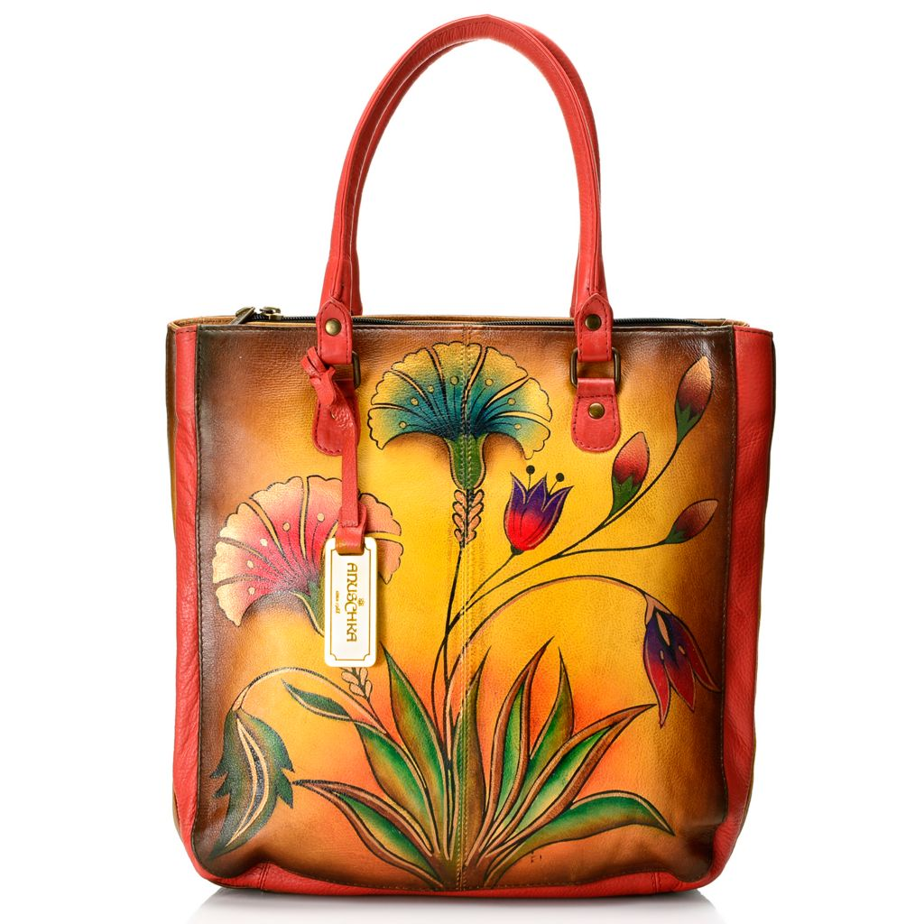 719-109 - Anuschka Hand-Painted Leather Triple Compartment Shopper w/ Strap