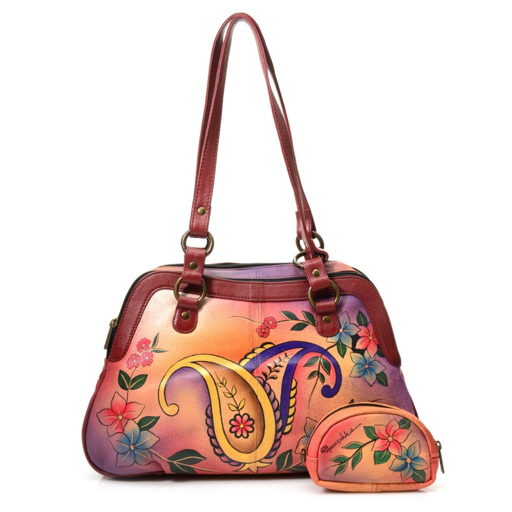 719-110 - Anuschka Hand-Painted Leather Zip Around Medium Satchel w/ Coin Pouch