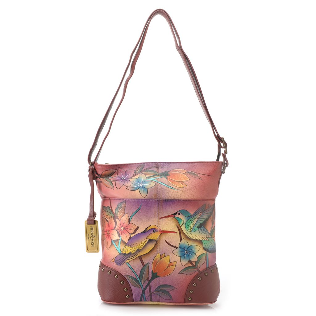 719-111 - Anuschka Hand-Painted Leather Studded Convertible Cross Body Bag