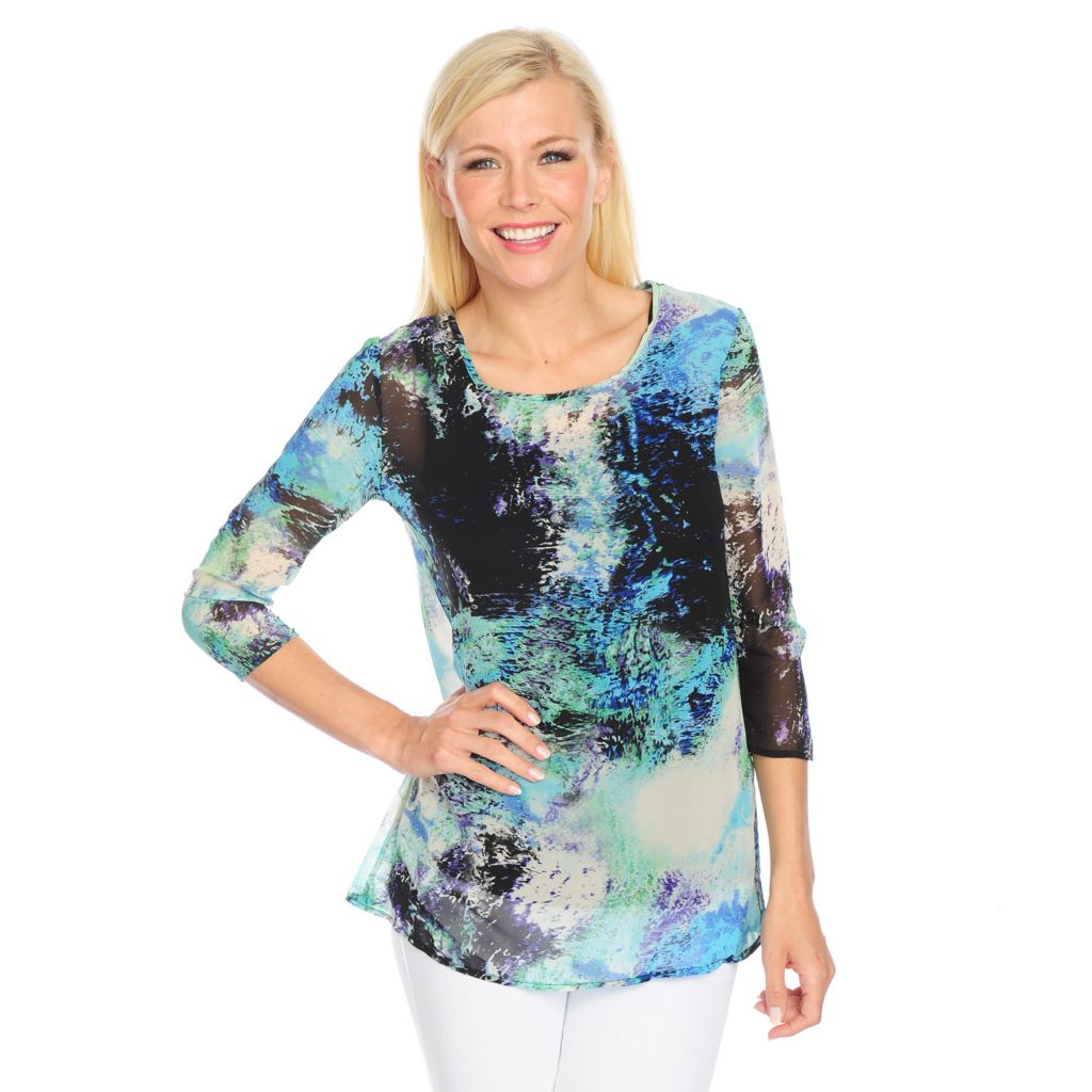 719-112 - Kate & Mallory Printed Chiffon 3/4 Sleeved Sheer Blouse w/ Solid Knit Tank