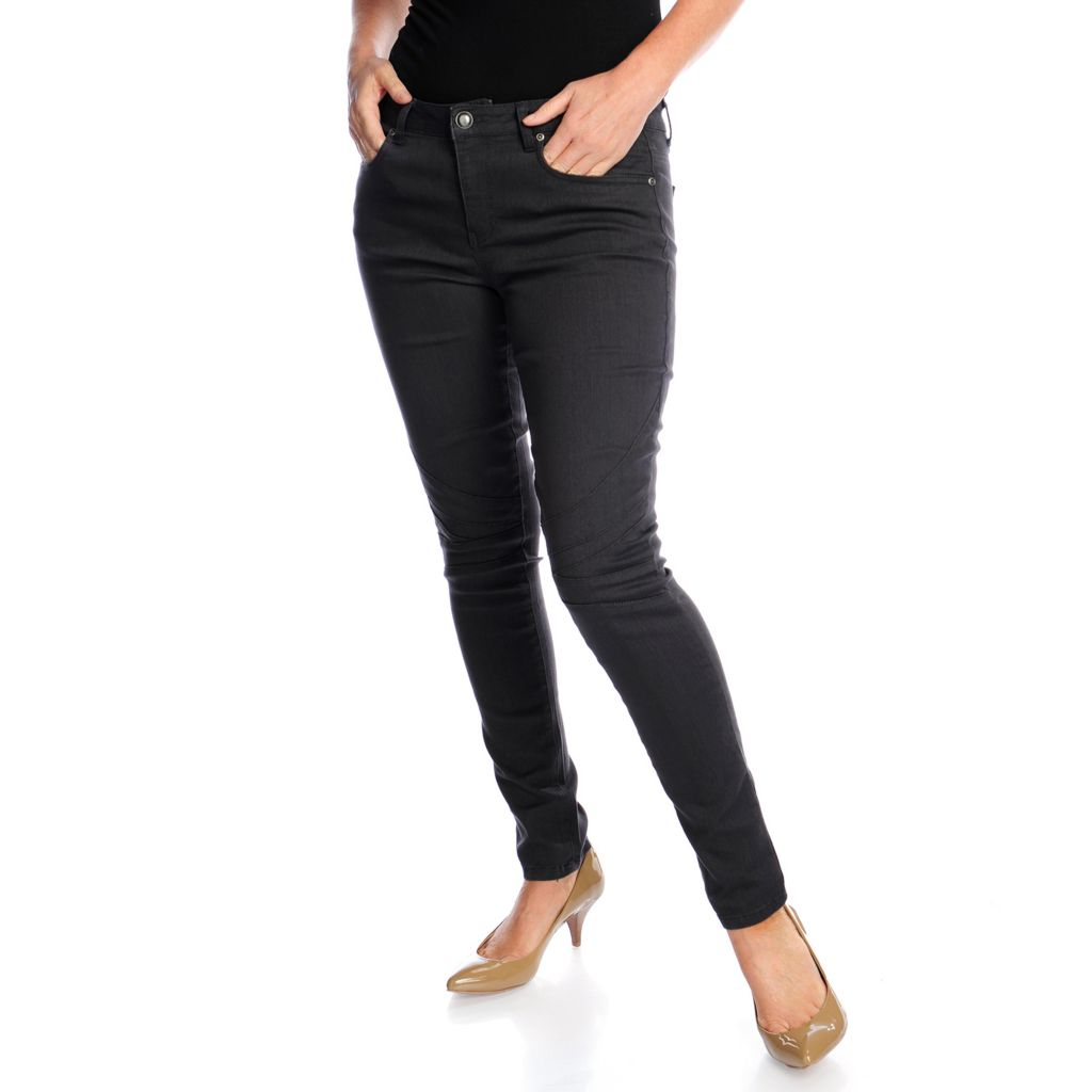 719-113 - Kate & Mallory Stretch Twill Pieced Knee Skinny Moto Jeans