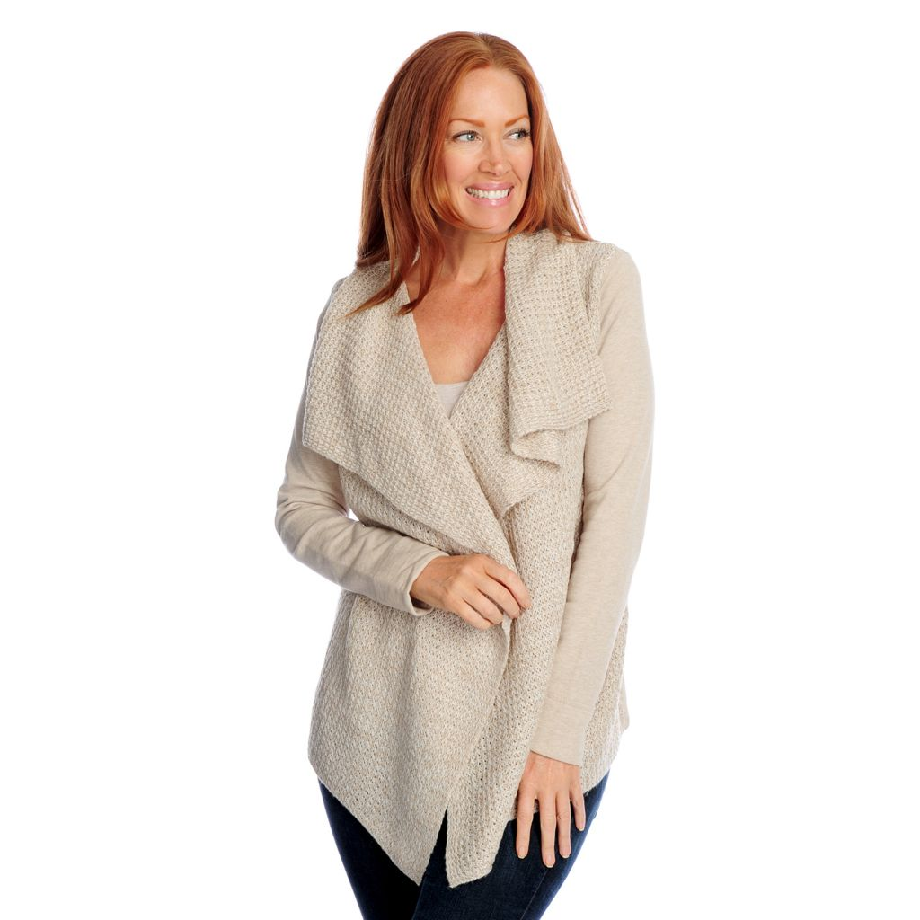719-114 - Kate & Mallory Mixed Media Long Sleeved Cascade Front Cardigan Sweater