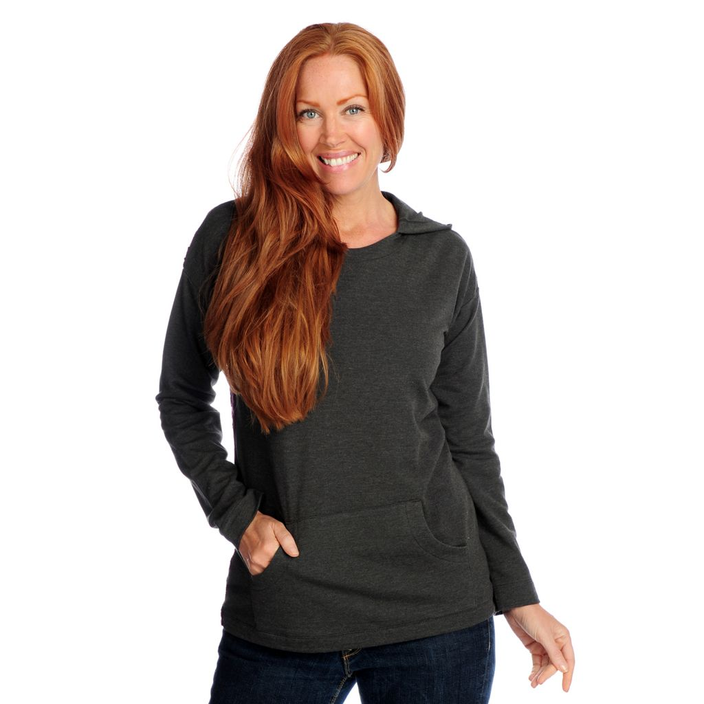 719-115 - Kate & Mallory French Terry w/ Sweater Back Long Sleeved Hooded Pullover
