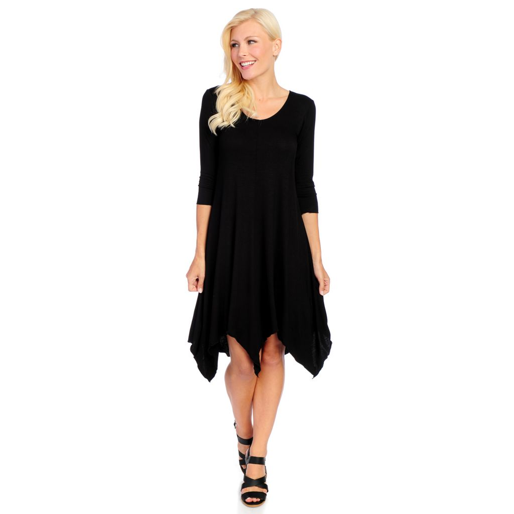 719-119 - Kate & Mallory Knit 3/4 Sleeved Uneven Hem Scoop Neck Dress
