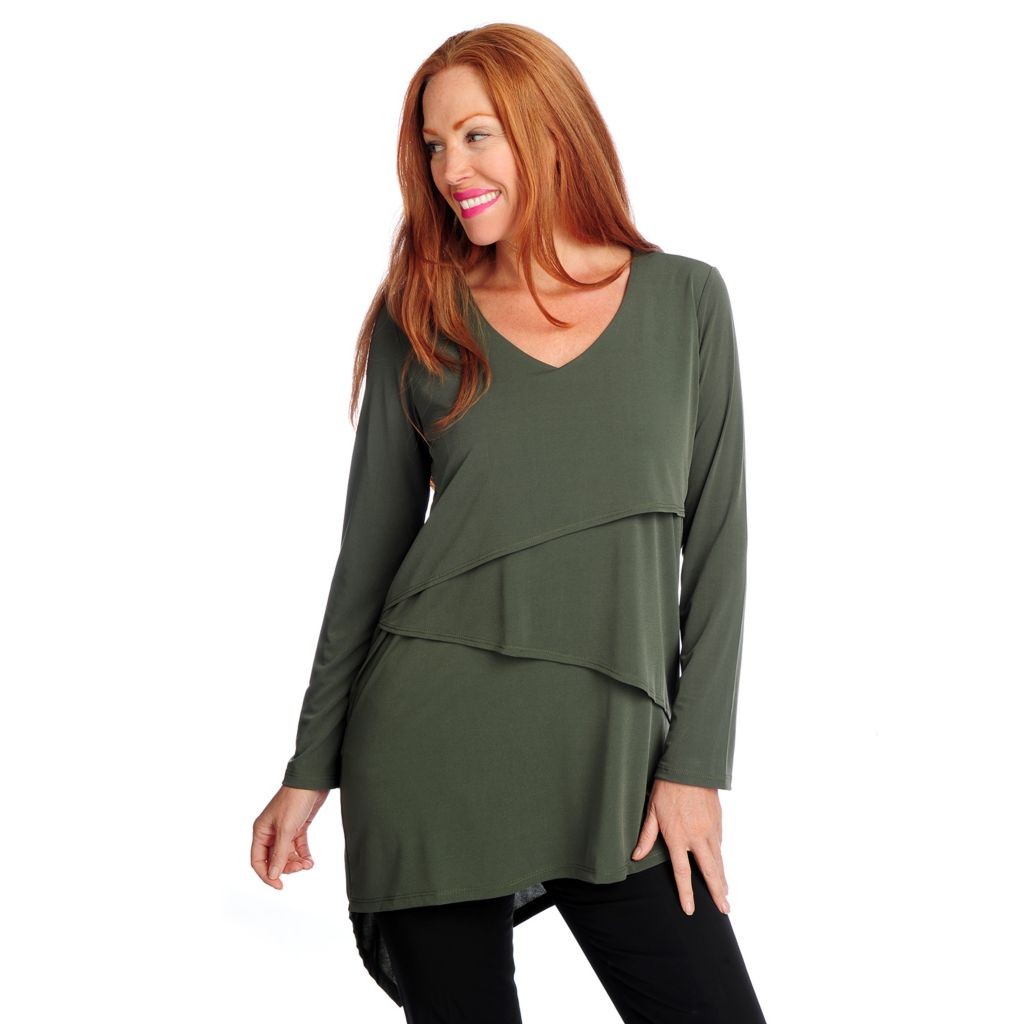 719-121 - Kate & Mallory Knit Long Sleeved Asymmetrical Tiered Tunic