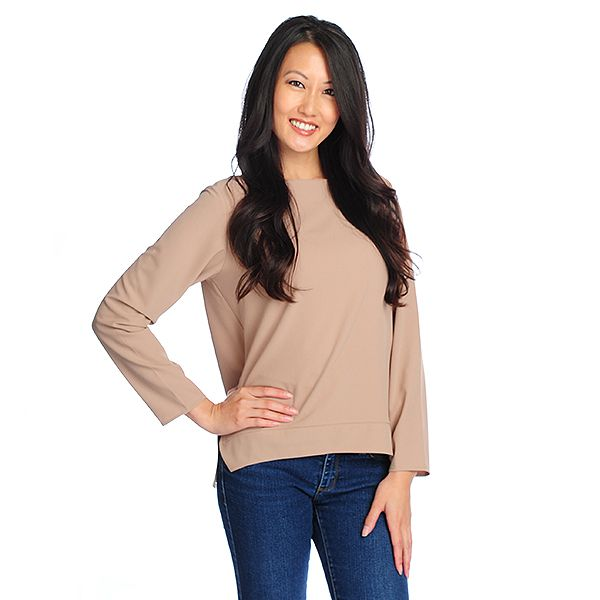 719-122 - Kate & Mallory Crepe Long Sleeved Boat Neck Hi-Lo To