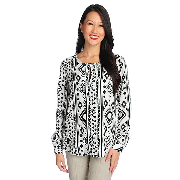 719-123 - Kate & Mallory Printed Woven Long Sleeved Hidden Keyhole Blouse