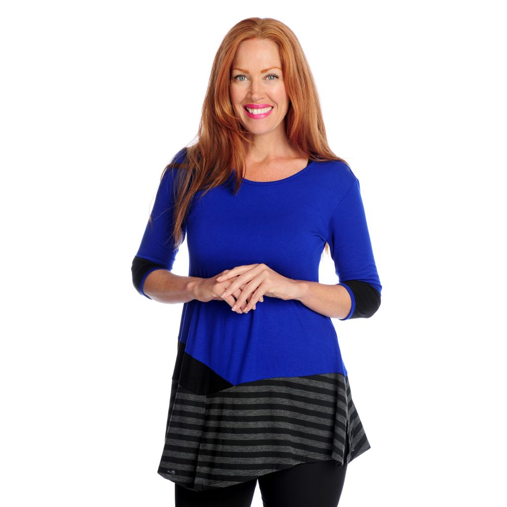 719-124 - Kate & Mallory Knit 3/4 Sleeved Stripe / Solid Mixed Top