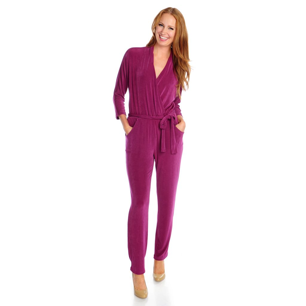 719-125 - Affinity for Knits™ 3/4 Dolman Sleeved Elastic Waist Surplice Jumpsuit w/ Self-Tie Belt