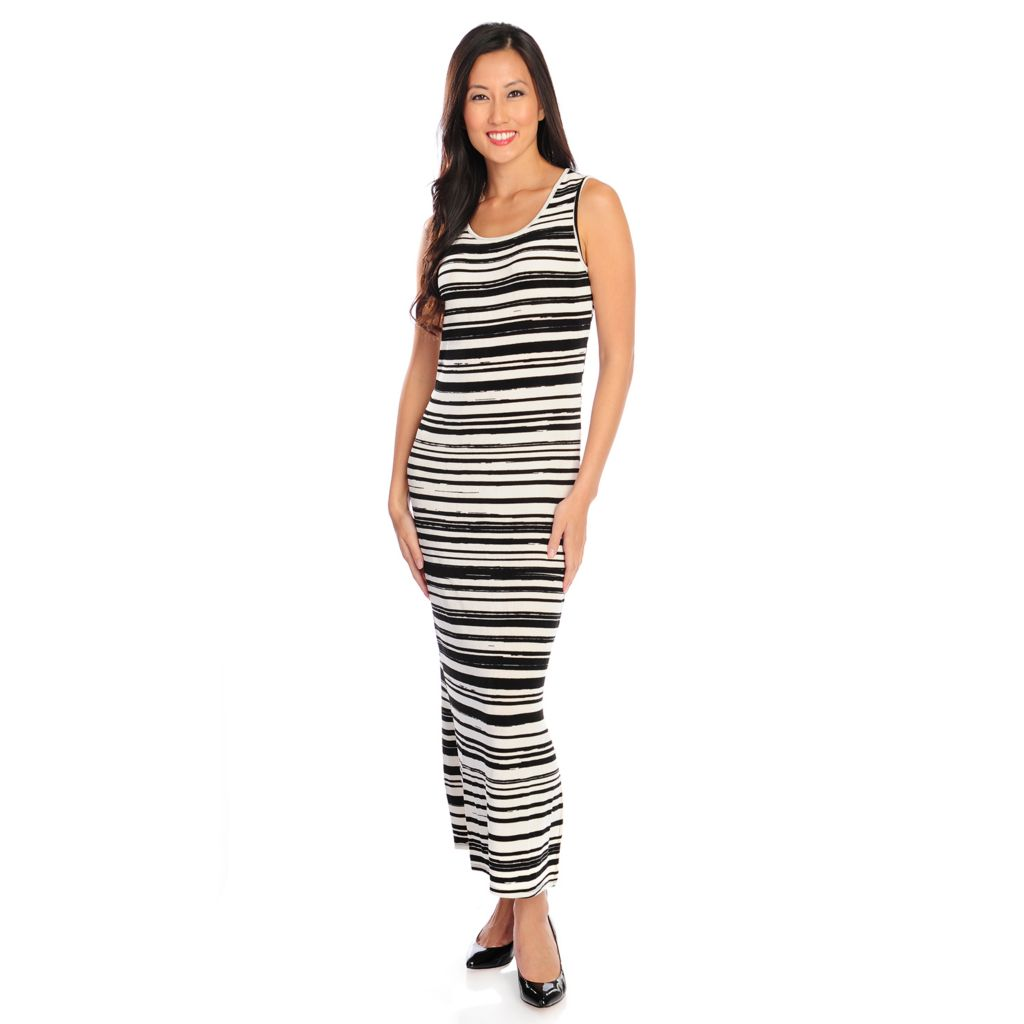 719-126 - Affinity for Knits™ Sleeveless Variegated Stripe Round Neck Maxi Dress