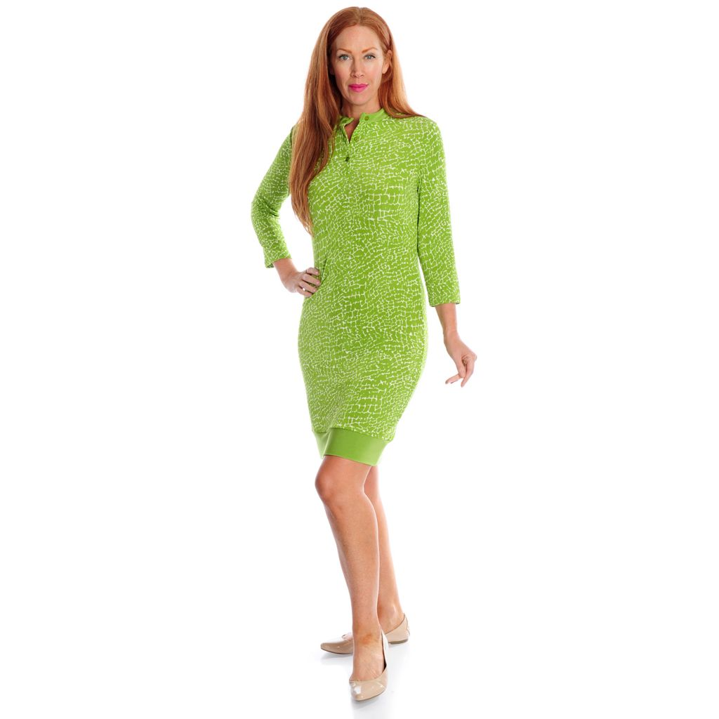719-127 - Affinity for Knits™ 3/4 Sleeved Button Placket Border Trim Dress