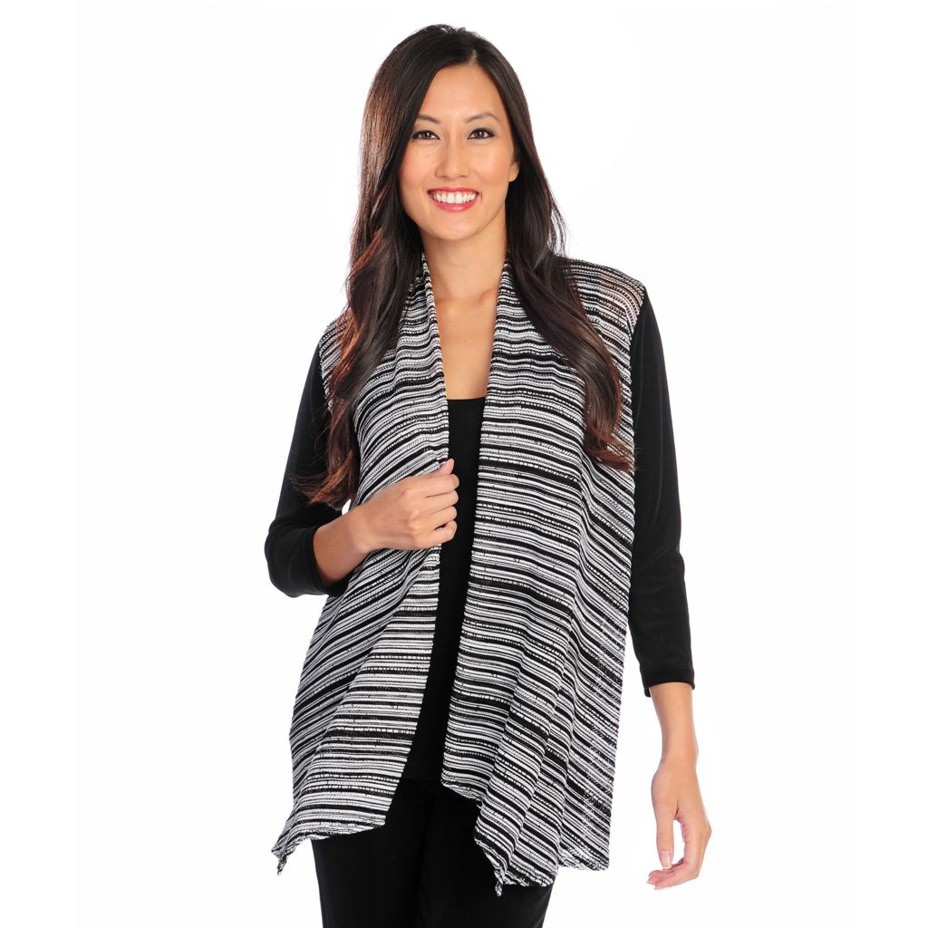 719-128 - Affinity for Knits™ Textured Stripe Draped Front Cardigan & Tank Top Set