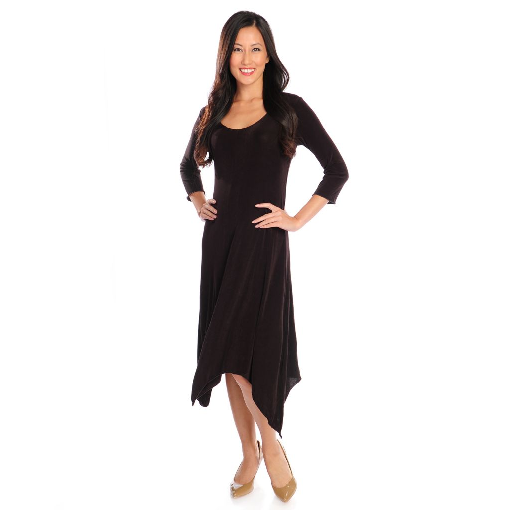 719-130 - Affinity for Knits™ 3/4 Sleeved Handkerchief Hem Scoop Neck Dress