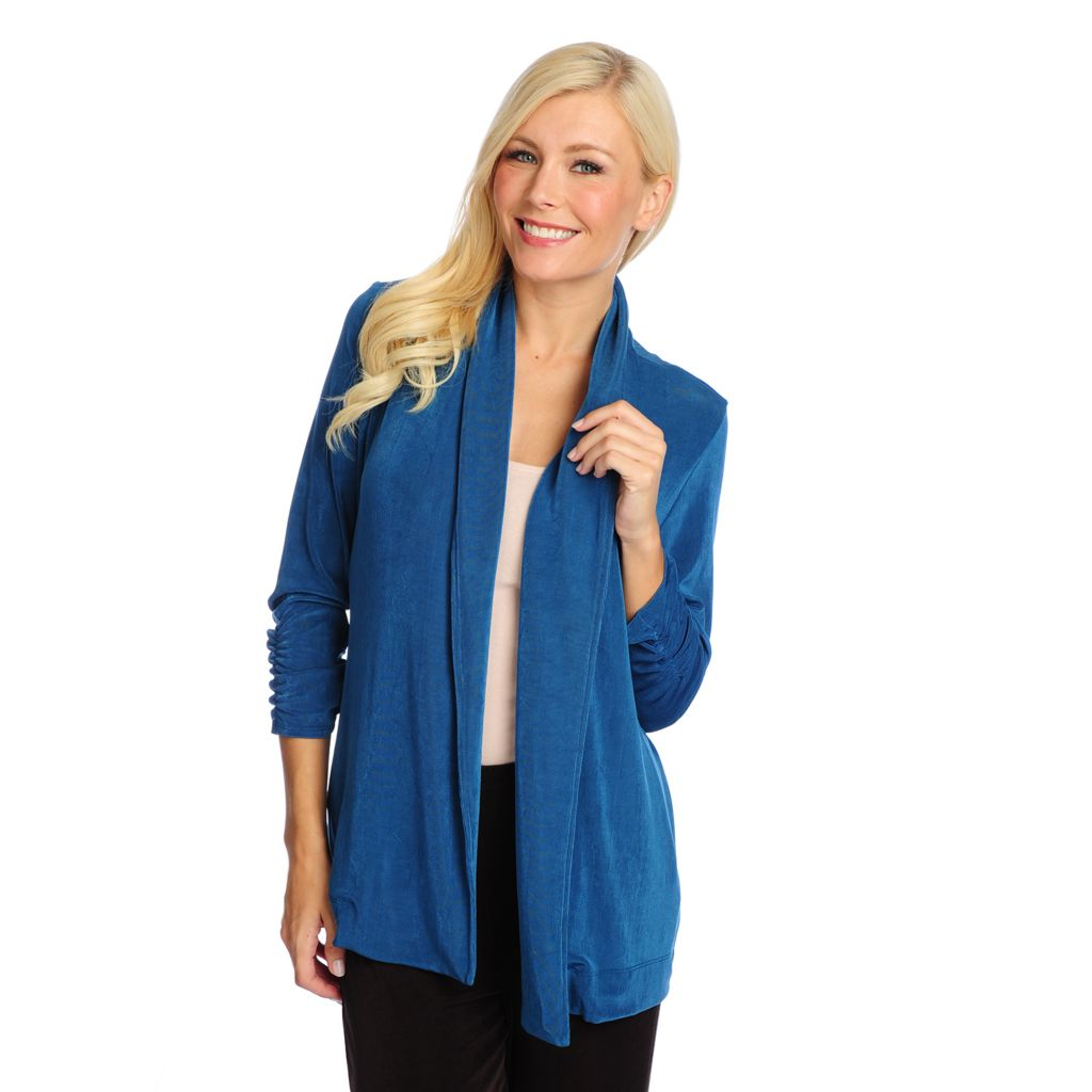 719-132 - Affinity for Knits™ 3/4 Sleeve Ruched Detail Rolled Collar Open Cardigan
