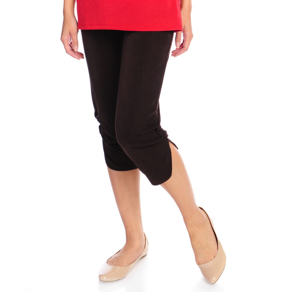 719-133 - Affinity for Knits™ Ruched Detail Tapered Leg Cropped Pull-on Pants