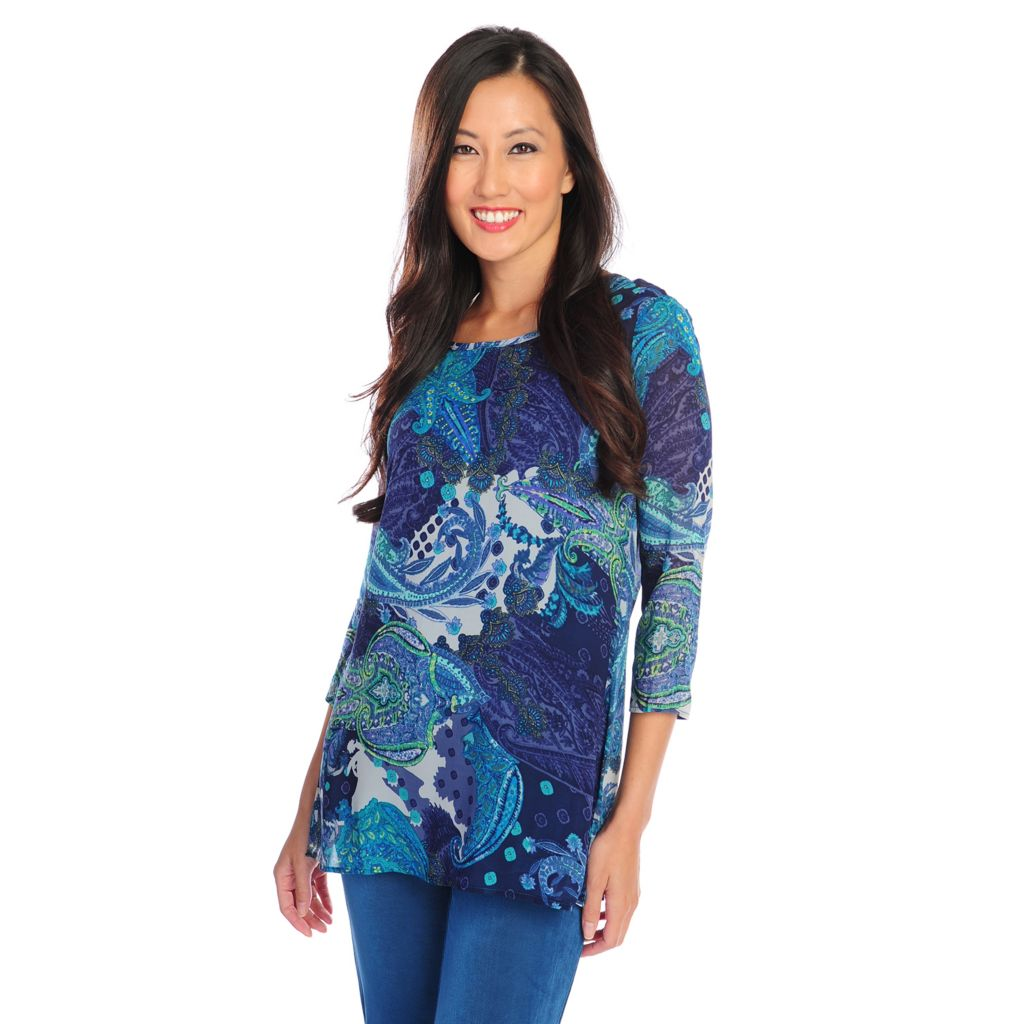 719-136 - Affinity for Knits™ Woven Combo 3/4 Sleeved Printed Top w/ Matching Tank Top