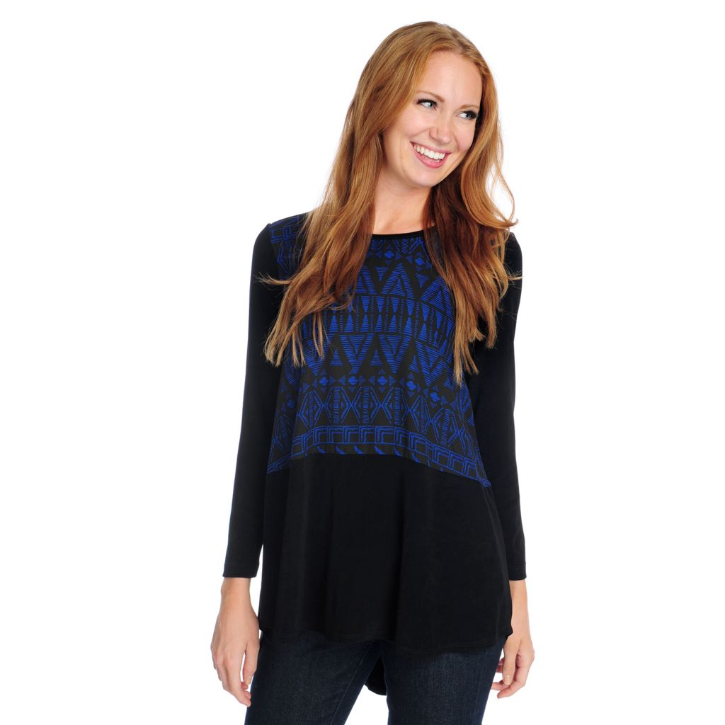 719-138 - Affinity for Knits™ Long Sleeved Printed Front Hi-Lo Tunic