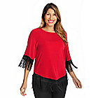 719-140 - Affinity for Knits™ Raglan Sleeved Round Neck Fringe Detail Top