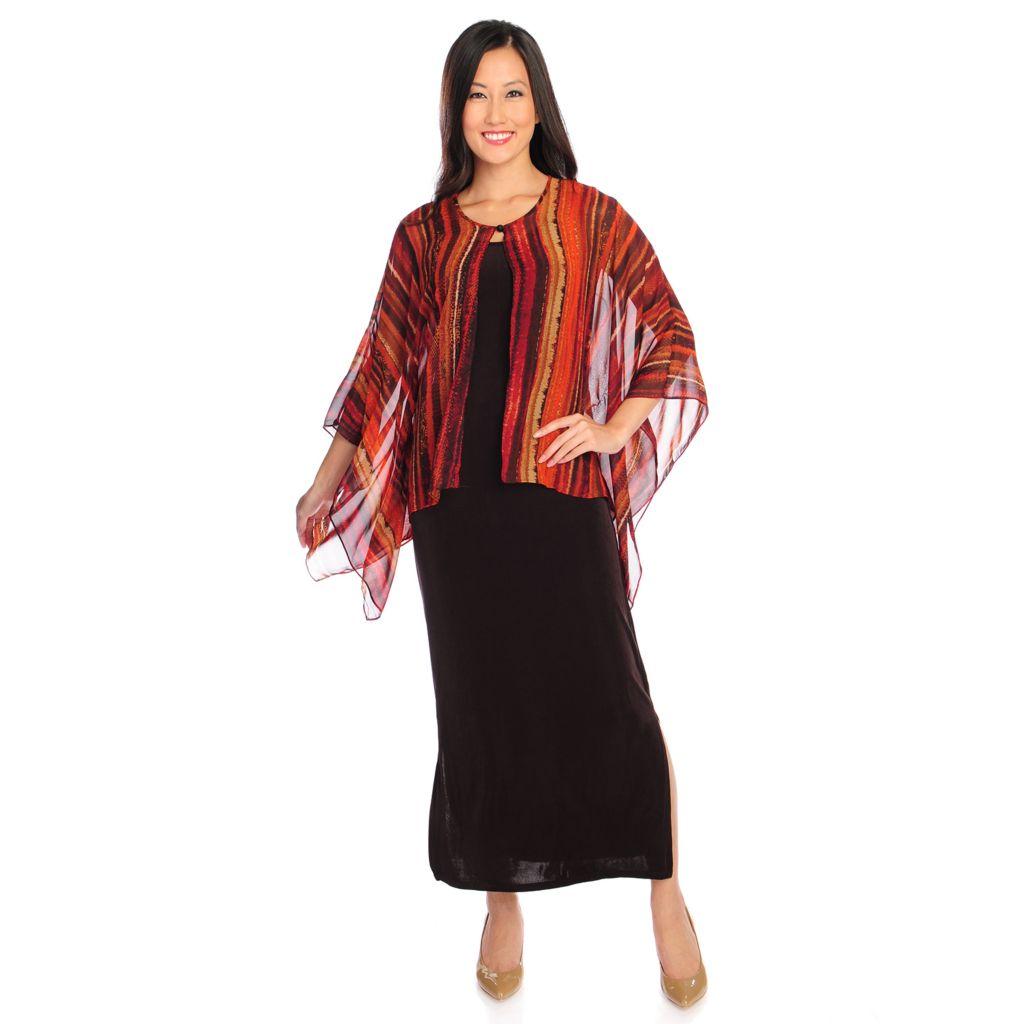 719-142 - Affinity for Knits™ Round Neck Maxi Dress & Chiffon Poncho Sleeved Cardigan Set