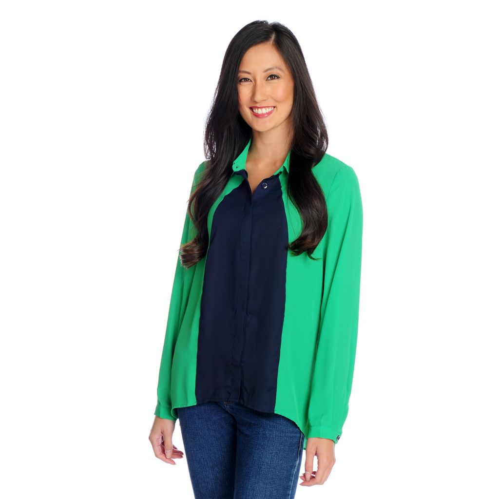 719-152 - Kate & Mallory Crepe Long Sleeved Button Front Color Block Blouse
