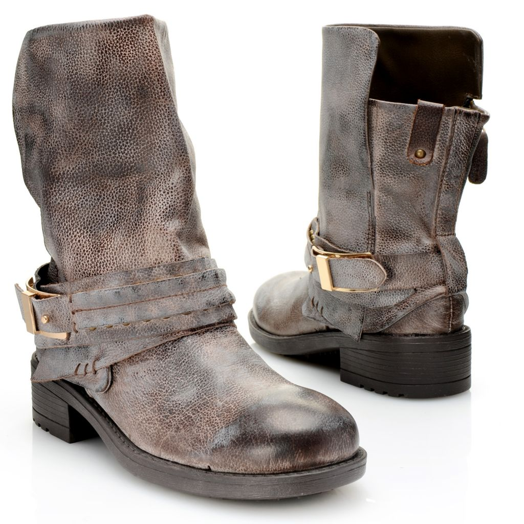 719-181 - Mojo Moxy Distressed Leather Buckle & Stud Detailed Mid-Calf Boots