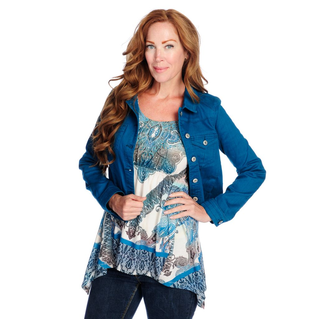 719-189 - One World Printed Knit 3/4 Sleeved Sharkbite Top w/ Denim Jacket