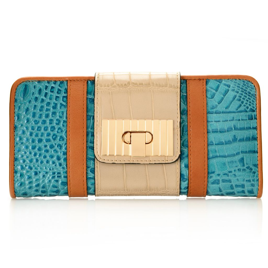 719-214 - Madi Claire Croco Embossed Leather Tri-color Flap-over Fold Lock Wallet
