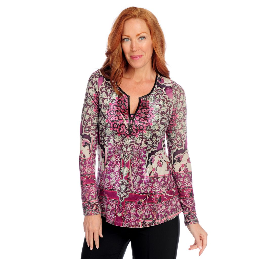 719-219 - One World Mixed Media Long Sleeved Sublimated Print Henley Top