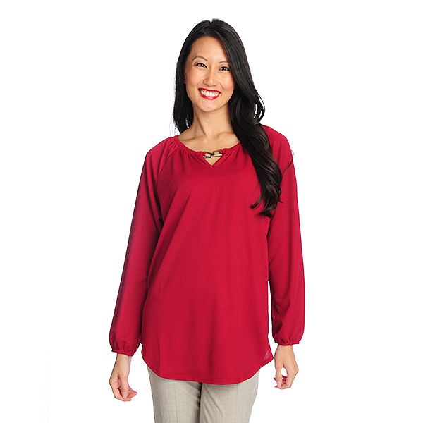 719-223 - Kate & Mallory Crepe Knit Raglan Sleeved Hardware Detailed Keyhole Top