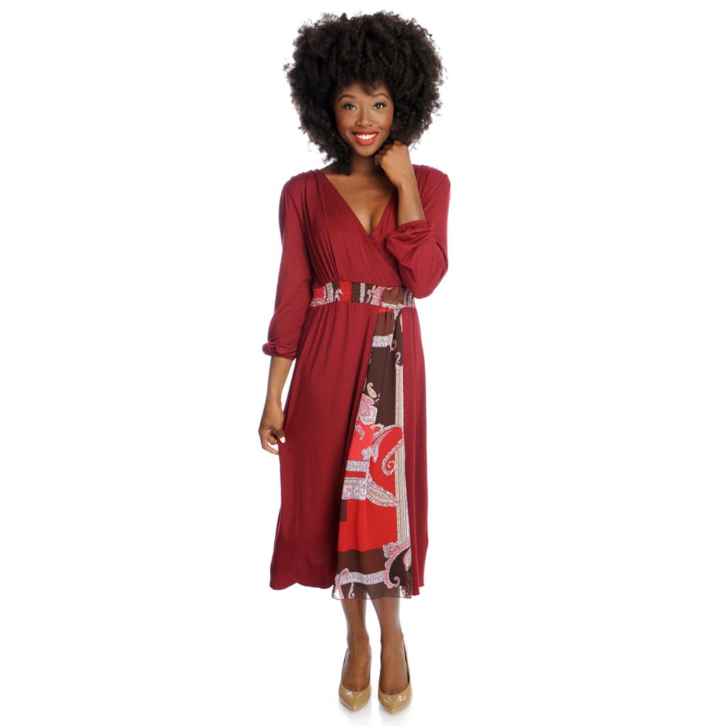 719-224 - Kate & Mallory Mixed Media Long Sleeved Faux Sash Surplice Dress