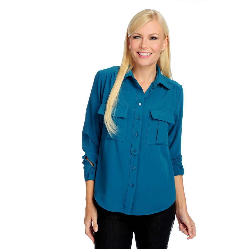 719-227 - Kate & Mallory Crepe Long Sleeved Button Front Two-Pocket Blouse