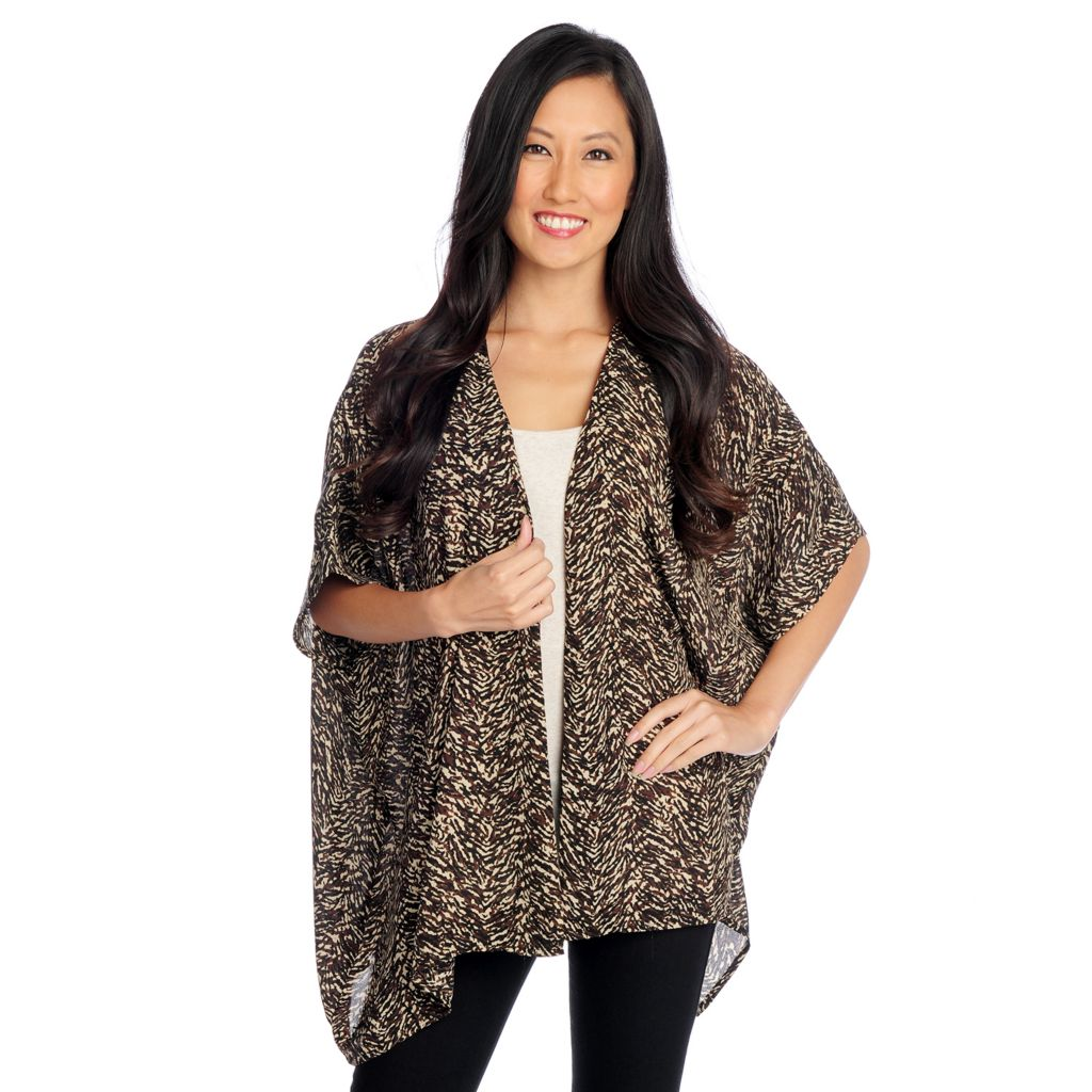 719-229 - Kate & Mallory Printed Crepe Elbow Sleeve Open Front Draped Cardigan
