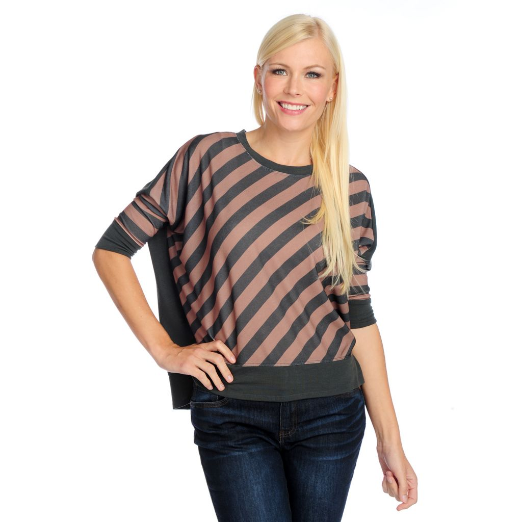 719-231 - Kate & Mallory Knit Drop Shoulder Round Neck Hi-Lo Top