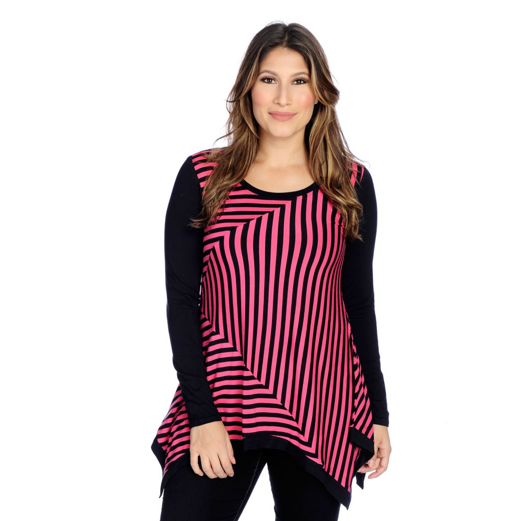 719-232 - Kate & Mallory Knit Long Sleeved Scoop Neck Sharkbite Top