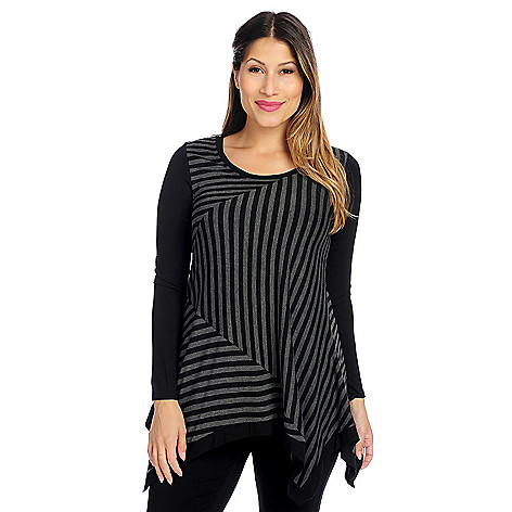 719-232- Kate & Mallory® Stretch Knit Long Sleeved Scoop Neck Sharkbite Top