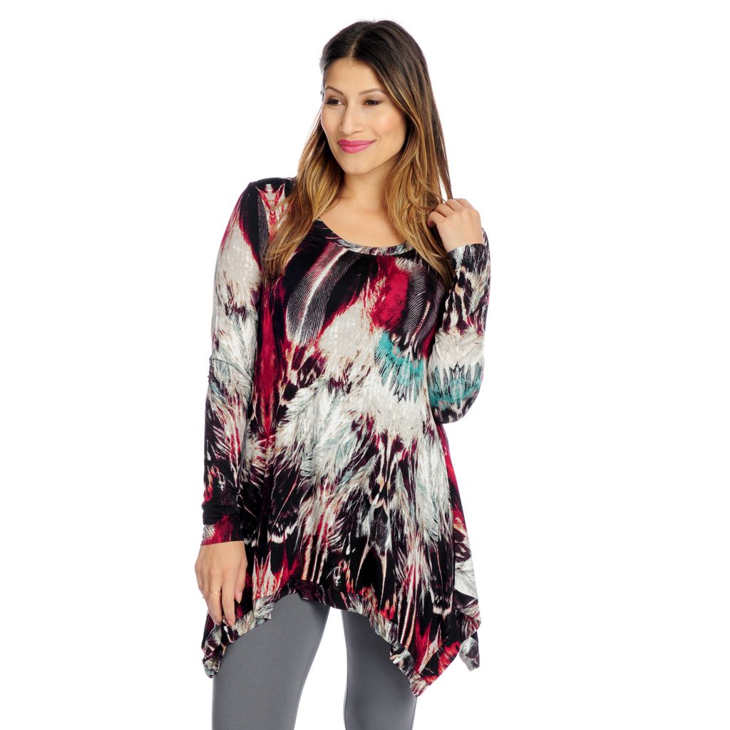 719-233 - Kate & Mallory Printed Knit Long Sleeved Scoop Neck Sharkbite Top