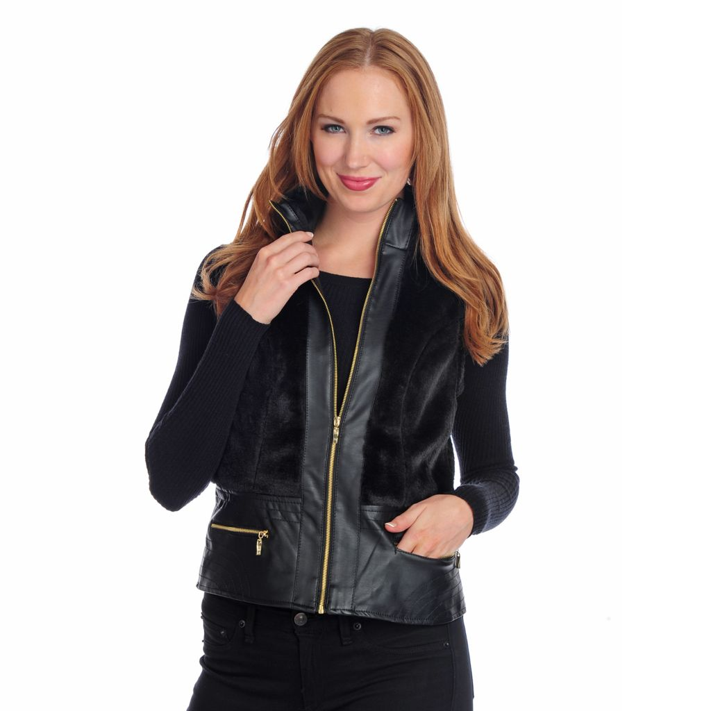 719-238 - Kate & Mallory Faux Leather & Faux Fur Mixed Media Zip Front Vest
