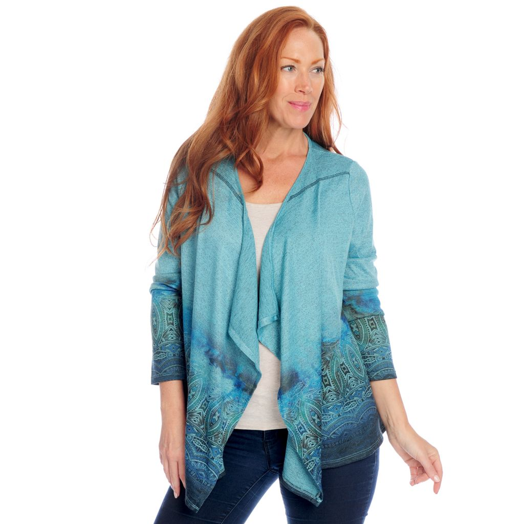 719-245 - One World Heathered Knit Long Sleeve Printed Border Open Cardigan