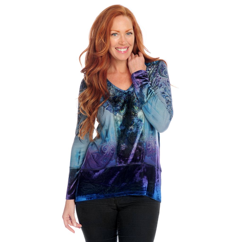 719-247 - One World Mixed Media Long Sleeve Velvet Trimmed Hi-Lo Tunic Top