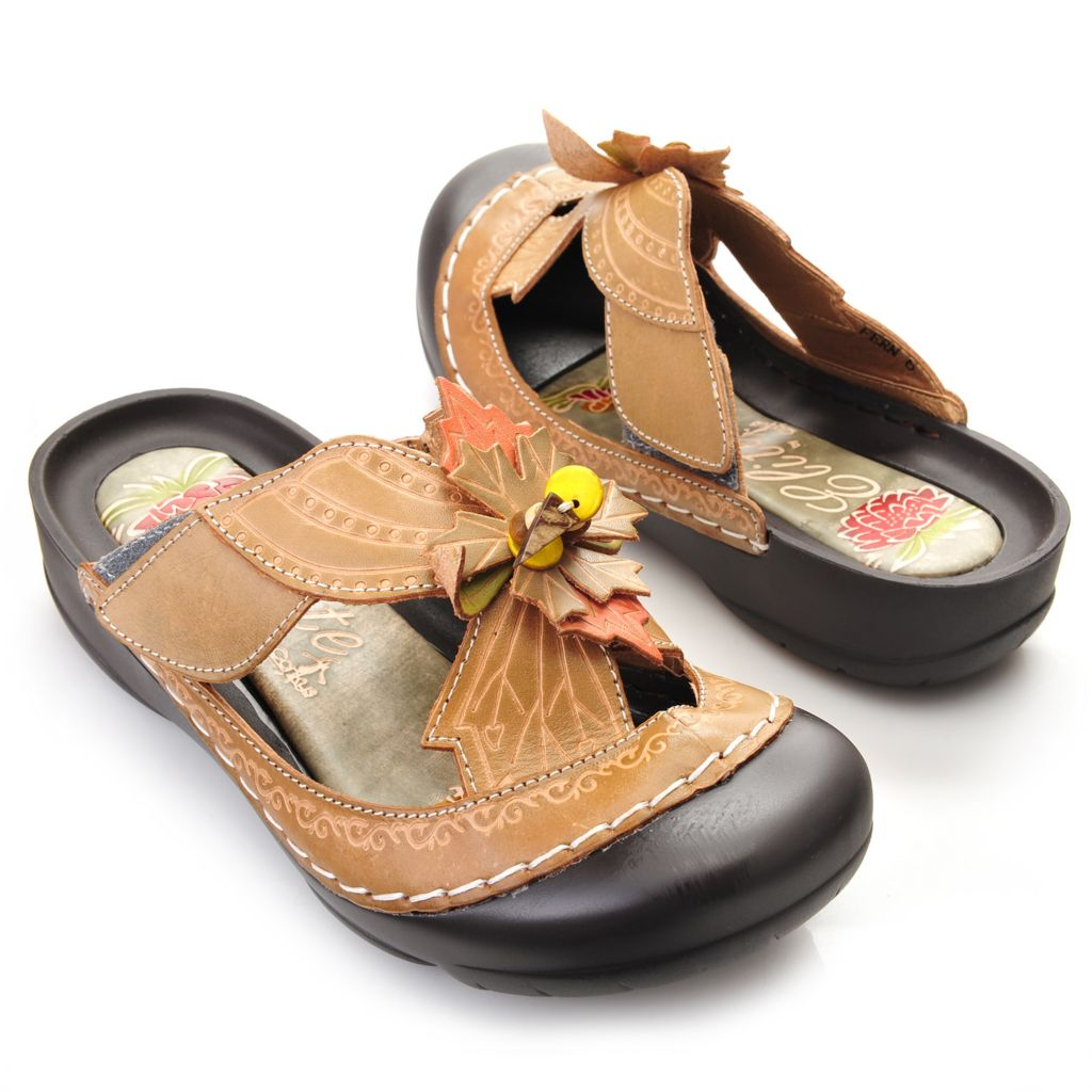 719-293 - Corkys Elite Hand-Painted Leather Beaded Leaf Design Bump Toe Sandals