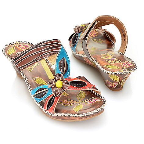 719-294 - Corkys Elite ''Belize'' Leather Hand-Painted Slip-on Flower Design Wedge Sandals