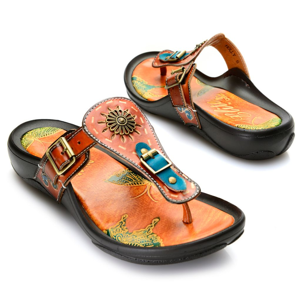 719-295 - Corkys Elite Hand-Painted Leather Buckle Detailed Thong Sandals