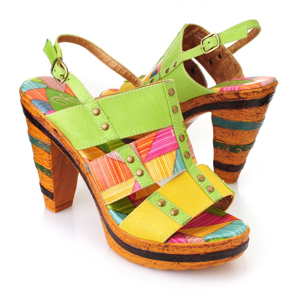 719-296 - Corkys Elite Hand-Painted Leather Color Blocked High Heel Sandals