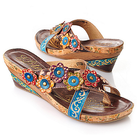 719-297 - Corkys Elite Hand-Painted Leather Crisscross Toe Strap Wedge Sandals
