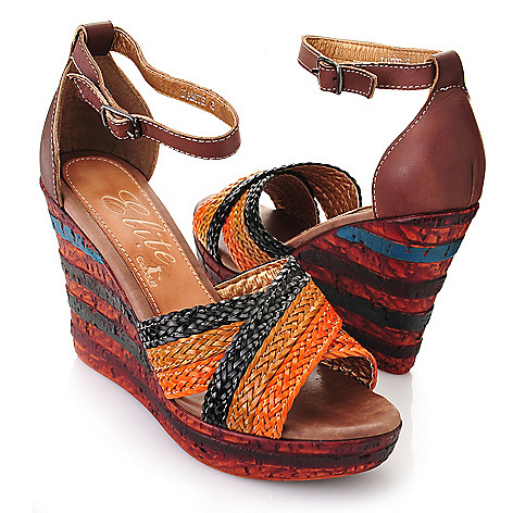 719-299 - Corkys Elite ''Jamie'' Leather Hand-Painted Woven Crisscross Strap Wedge Sandals