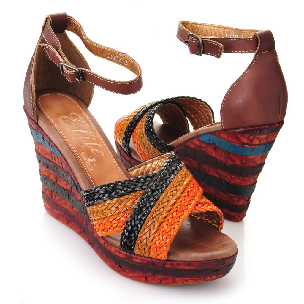 719-299 - Corkys Elite Hand-Painted Leather Woven Crisscross Strap Wedge Sandals
