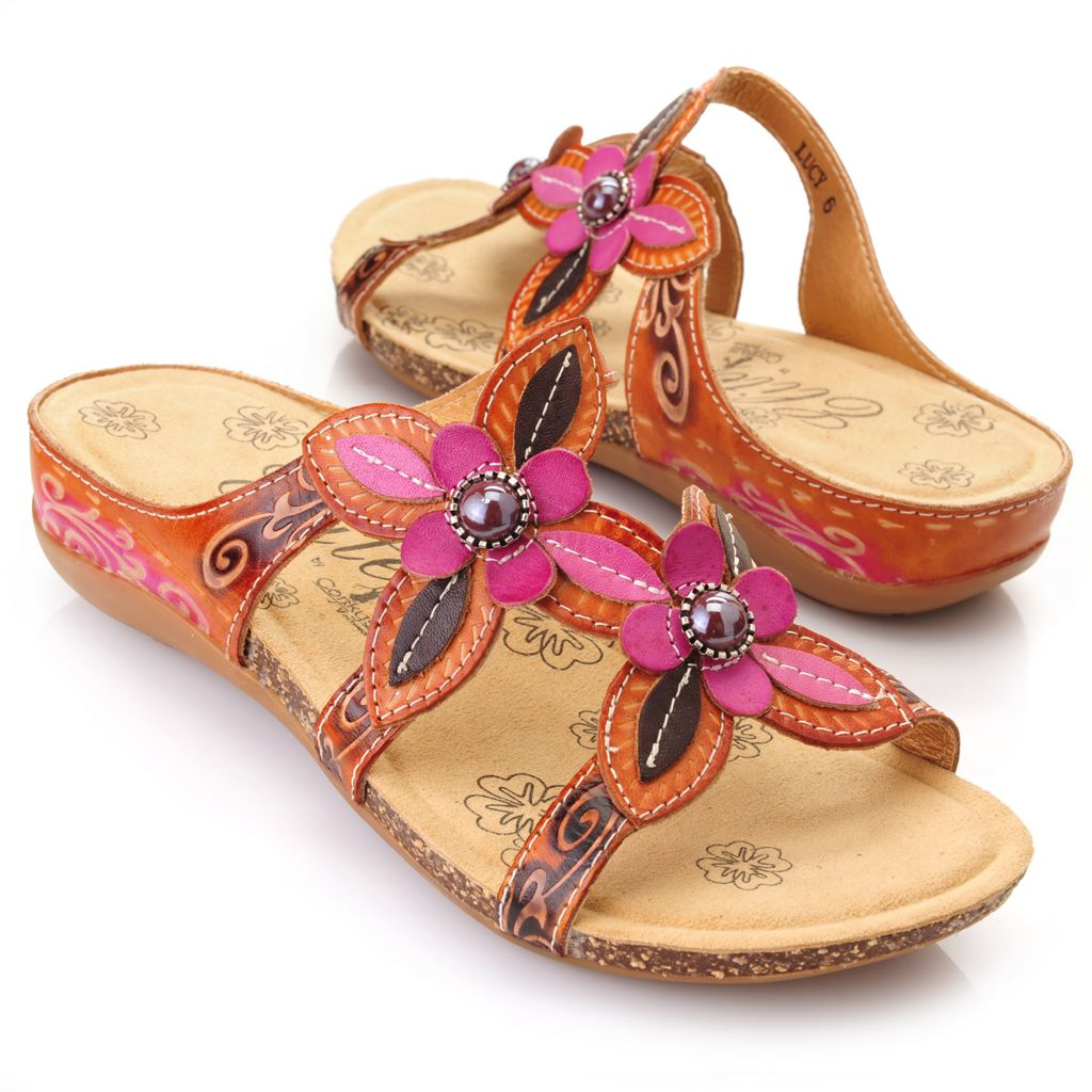 719-300 - Corkys Elite Hand-Painted Leather Bead Detailed Flower Sandals