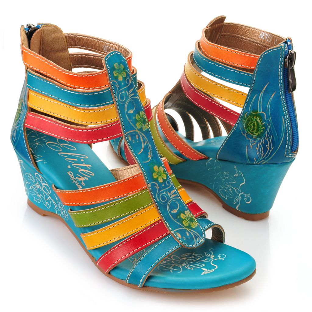 719-301 - Corkys Elite Hand-Painted Leather Strappy Back Zip Wedge Sandals