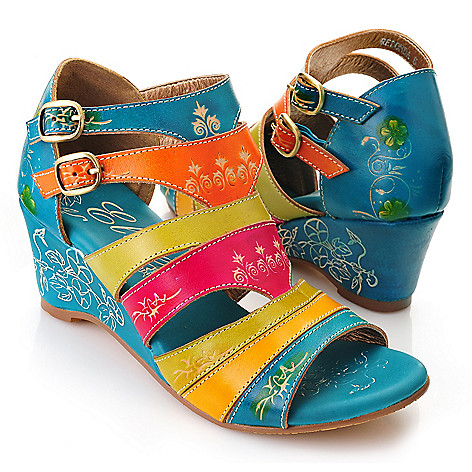 719-302 - Corkys Elite Hand-Painted Leather Strappy Buckle Detailed Wedge Sandals